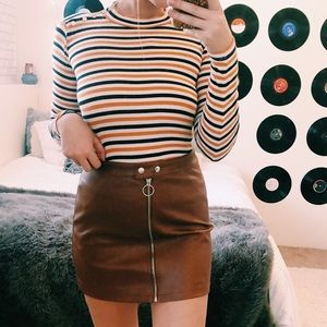 3 FOR 20 🌟 FOREVER 21 FAUX LEATHER BROWN SKIRT